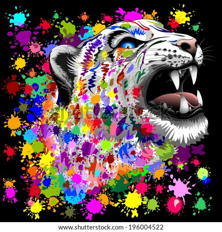 Leopard Psychedelic Paint Splats - stock vector
