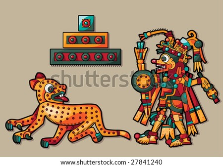 Leopard, pyramid and Indian man - stock vector