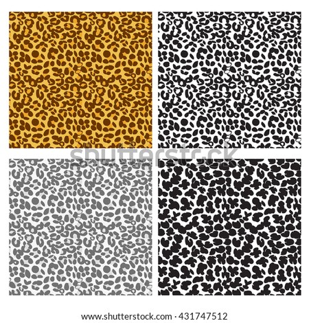 Leopard seamless pattern in flat style, vector