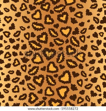 leopard skin seamless background, vector - stock vector