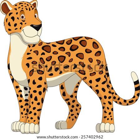 Leopard Walking, wild big cat realistic vector illustration - stock vector