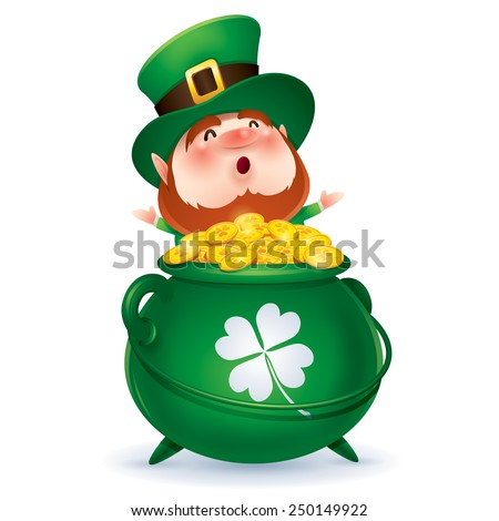 Leprechaun and a pot of gold - stock vector