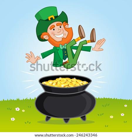 Leprechaun and his pot of Gold - stock vector
