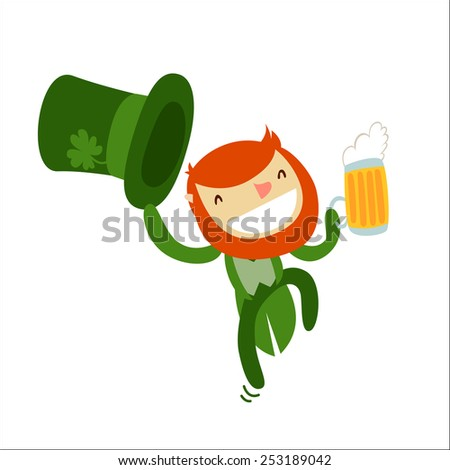 leprechaun character isolated. saint Patrick's day. vector illustration - stock vector