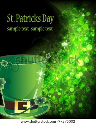 Leprechaun hat on a shining clover background. St. Patrick's Day symbol. - stock vector