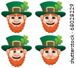 Leprechaun Head: A leprechaun head in 4 different face expressions. No transparency used. Basic (linear) gradients used. - stock vector