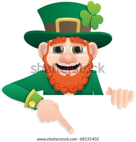 Leprechaun, holding a blank sign. You can add as much space as you need. No transparency used. Basic (linear) gradients used. - stock vector