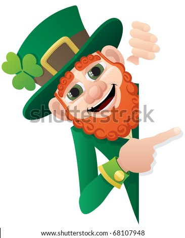 Leprechaun holding blank sign. You can add as much space as you need.