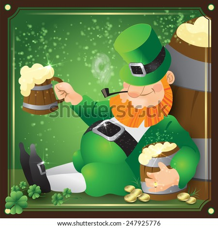 Leprechaun, Irish man with beer, St. Patrick's Day - stock vector