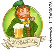 Leprechaun, Irish man with beer, St. Patrick's Day logo design with space for text, isolated - stock photo