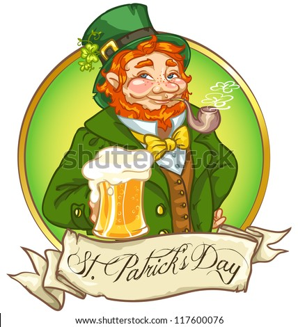 Leprechaun, Irish man with beer, St. Patrick's Day logo design with space for text, isolated - stock vector