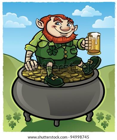 Leprechaun on Pot of Gold - stock vector