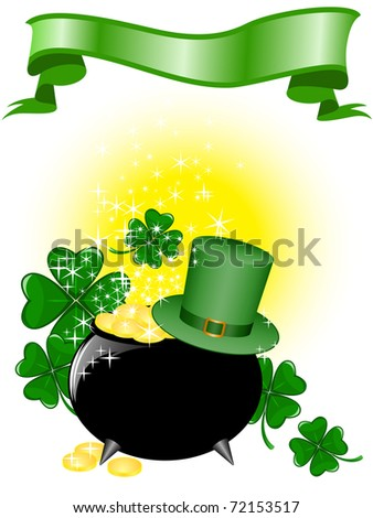 Leprechaun pot of gold and hat on a shimmering background with clover