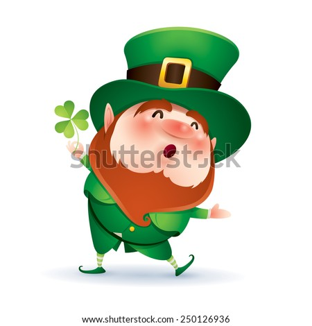 Leprechaun presenting - stock vector