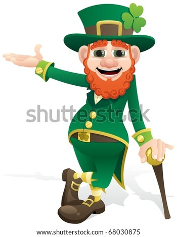 Leprechaun Presenting: A leprechaun, presenting your product or message. No transparency used. Basic (linear) gradients used. - stock vector