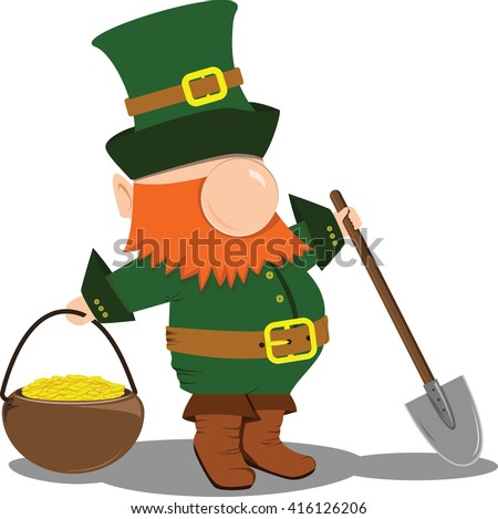 Leprechaun with a shovel and a pot. Saint patricks day holiday.