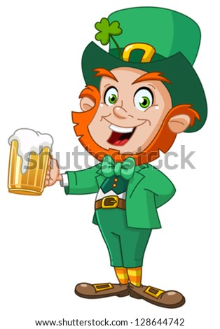 Leprechaun with beer - stock vector