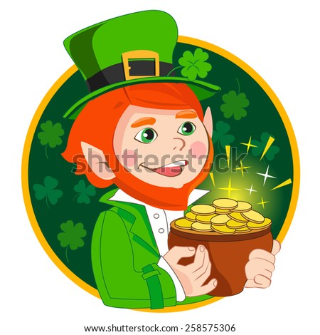 Leprechaun with gold coin pot. A character in a circle. Vector illustration. - stock vector