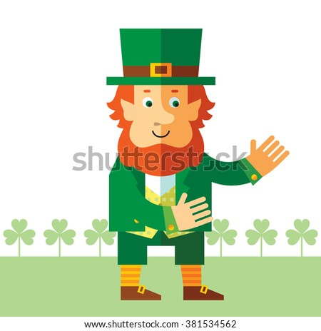 Leprechaun with welcome hands. Flat style vector illustration   Symbol Saint Patrick's Day
