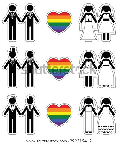 Lesbian brides and gay grooms icon 2 set with rainbow element  - stock vector