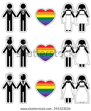 Lesbian brides and gay grooms icon 4 set with rainbow element  - stock vector