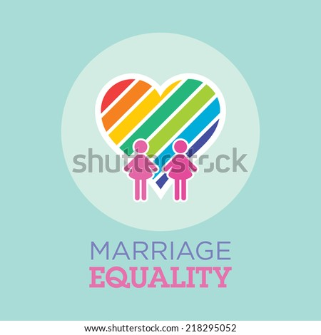 lesbian couples marriage equality with rainbow heart - stock vector