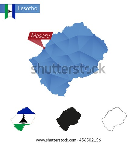 Lesotho blue Low Poly map with capital Maseru, versions with flag, black and outline. Vector Illustration. - stock vector