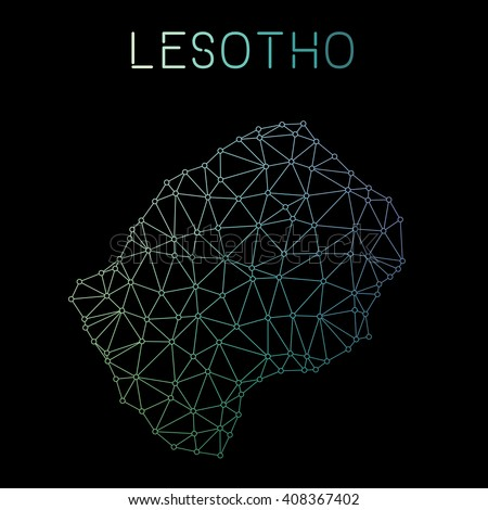 Lesotho network map. Abstract polygonal Lesotho network map design. Map of Lesotho network connections. Vector illustration. - stock vector