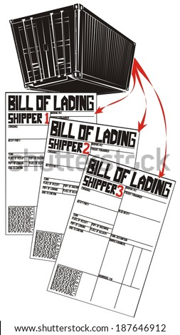 Less than container load (LCL) shipment in six illustrations (part 3) - cargo in single container is splitted into three different part load bills of lading - stock vector