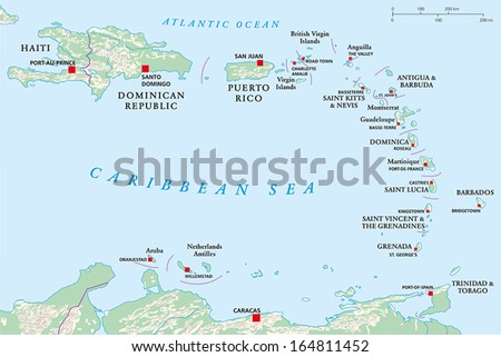 Lesser Antilles, Haiti, Dominican Republic - Political map with the capitals, national borders, rivers and lakes. Vector illustration with english labeling and scale. - stock vector