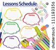 Lessons schedule on white background. Speech bubbles, buttons, paper clips, pencils, rulers. Grouped for easy editing. - stock vector