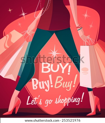 Let's go shopping! Vector illustration. - stock vector