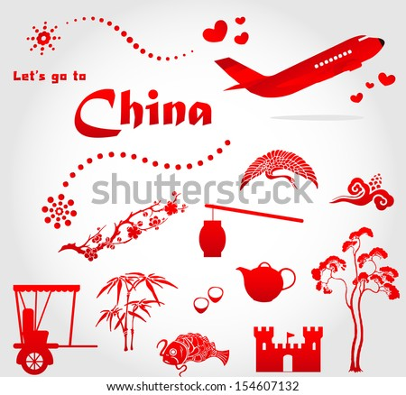 Let's go to china - stock vector