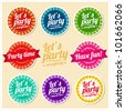 Let's party set of labels - stock vector