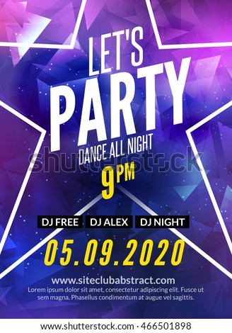 lets party design poster night club stock vector 466501898