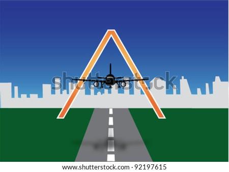 Letter A as aeroplane - vector - stock vector