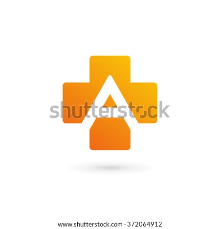 Letter A cross plus logo icon design template elements