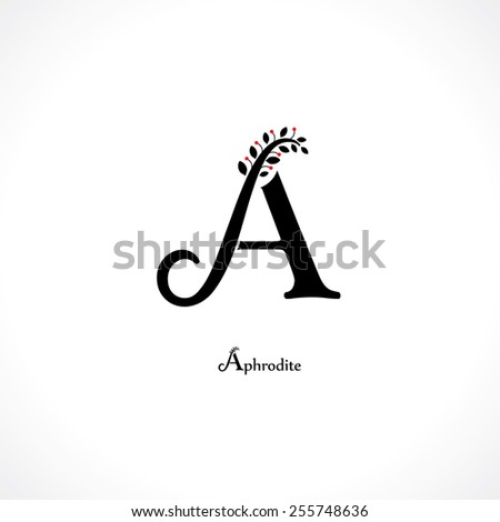 letter a in floral style - stock vector