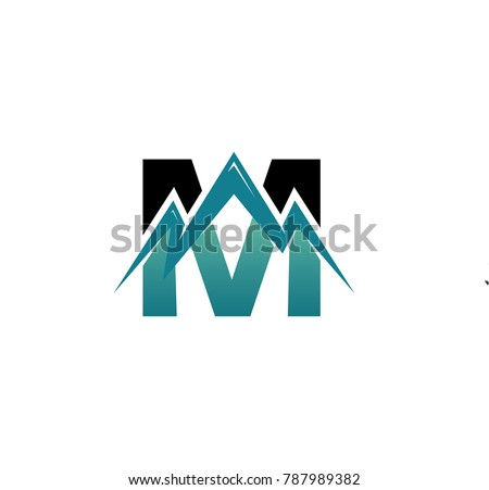 Letter mountain logo letter m combined stock vector for Party wall act letter to neighbour