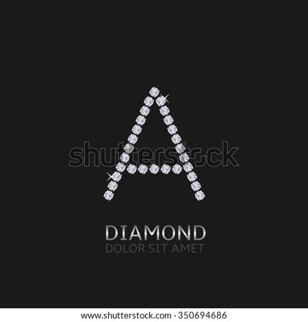 Letter A with gemstones. Luxury Diamond alphabet, Vector illustration - stock vector