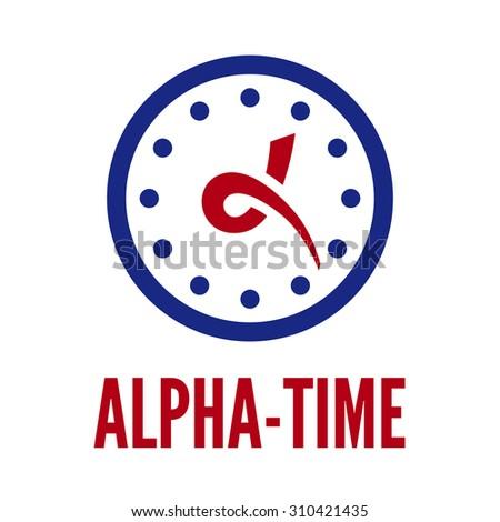 letter alpha stylized hands clock logo stock vector 310421435