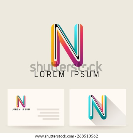 Letter Alphabet N Logo Icon Design Template Element. Vector Color Sign Easy Editable for Your Design. - stock vector
