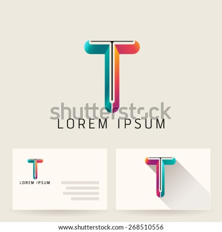 Letter Alphabet T Logo Icon Design Template Element. Vector Color Sign Easy Editable for Your Design. - stock vector