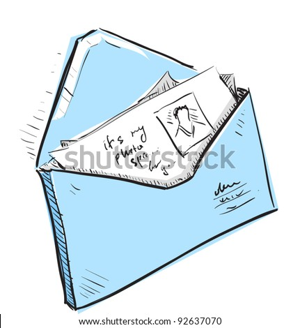 Letter and photos in blue envelope cartoon icon. Sketch fast pencil hand drawing illustration in funny doodle style. - stock vector