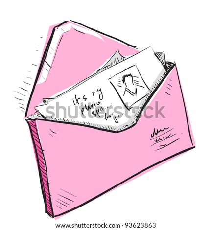Letter and photos in pink envelope cartoon icon. Sketch fast pencil hand drawing illustration in funny doodle style. - stock vector