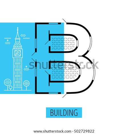 letter B, architectural plan, vector conceptual type. Thin line building icon, Big Ben