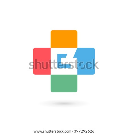 Letter B cross plus logo icon design template elements - stock vector