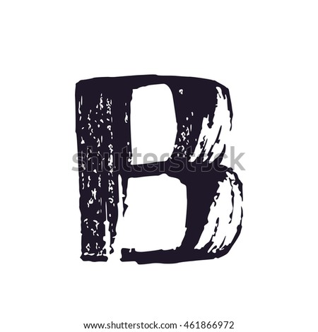 Letter B logo hand drawn with dry brush. Manual tracing with clean lines. Not auto trace. Vector grunge style design elements for T-shirt, label, badge, card or poster.