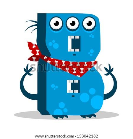 Letter B Monster, vector illustration - stock vector