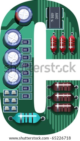 letter c circuit board - stock vector